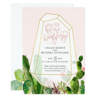 Desert Succulent Wedding Invitation - Pink