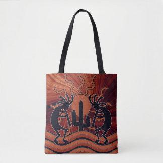 Desert Sun Cactus Southwest Design Kokopelli Tote Bag