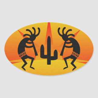 Desert Sun Cactus Southwest Kokopelli Oval Sticker
