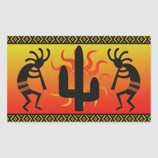 Desert Sun Cactus Southwest Kokopelli Rectangular Sticker