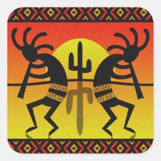 Desert Sun Cactus Southwest Kokopelli Square Sticker