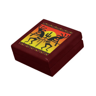 Desert Sunset Cactus Tribal  Southwest Kokopelli Small Square Gift Box