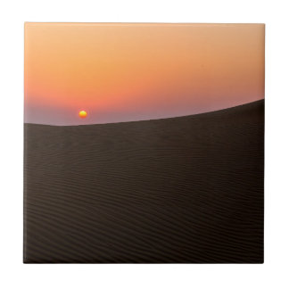 Desert sunset in Dubai Small Square Tile