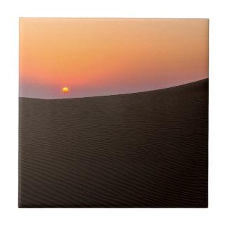 Desert sunset in Dubai Small Square Tile