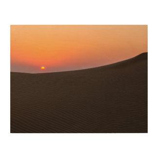 Desert sunset in Dubai Wood Canvas