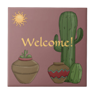 Desert Warm Welcome Greeting - American Southwest Small Square Tile