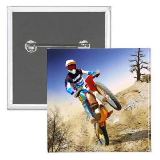 Desert Wheelie Motocross Pinback Button