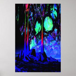 Deserted Alien Cavern Sci Fi Poster