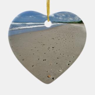 Deserted sandy beach christmas ornament