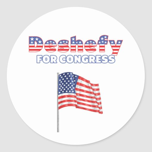 Deshefy for Congress Patriotic American Flag Round Stickers