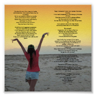 Desiderata 6 by 6 inches poster