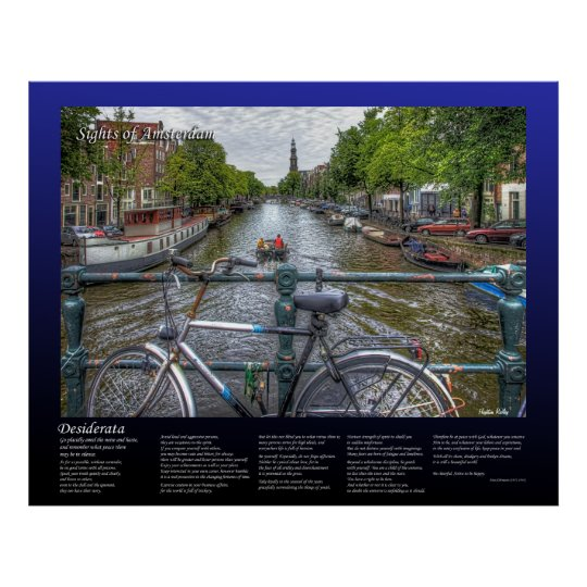 Desiderata - Amsterdam Canal Bridge View and Bike Poster