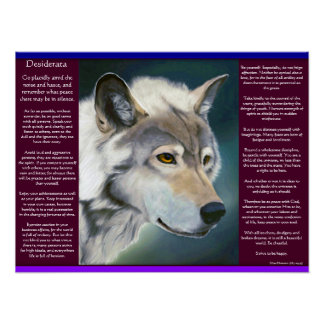 Desiderata by Max Ehrmann white wolf Posters