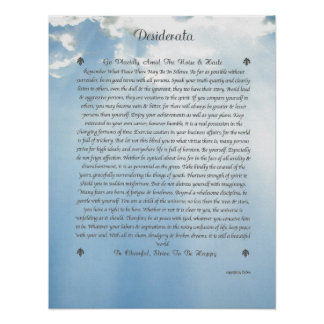 DESIDERATA Careful Clouds Poster