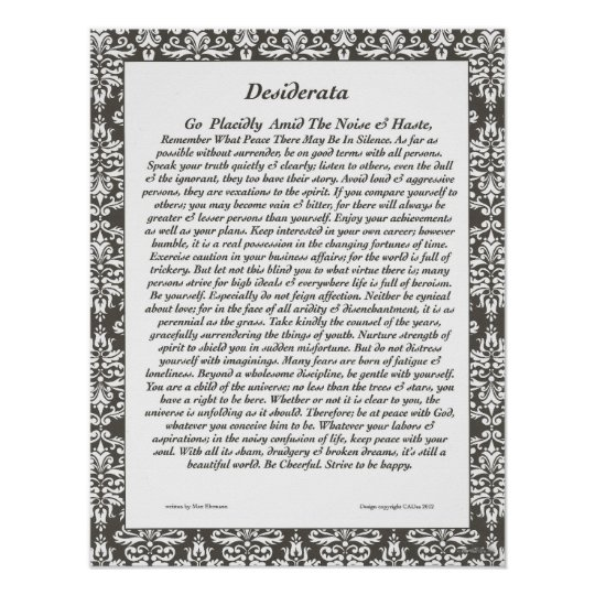 DESIDERATA Cheerful Black Filigree Poster