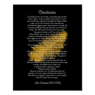 """Desiderata """"desired things"""" Golden feather black Poster"""