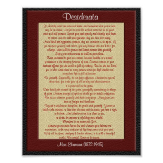 "Desiderata ""desired things"" leather look poster"