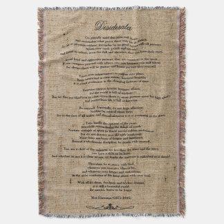 "Desiderata ""Desired Things"" on Faux Linen Burlap Throw Blanket"