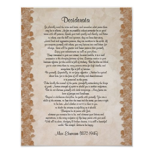 "Desiderata ""desired things"" parchment floral print"