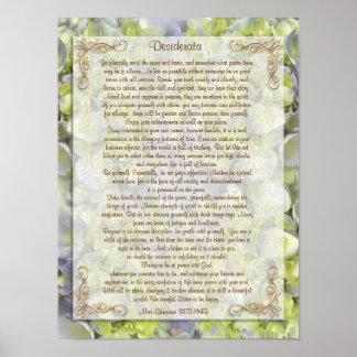 "Desiderata ""desired things"", prose floral poster"