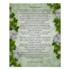 """Desiderata """"desired things"""", prose Ivy floral Poster"""