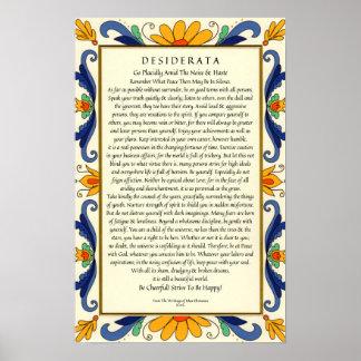 Desiderata in Art Deco Floral Border Poster