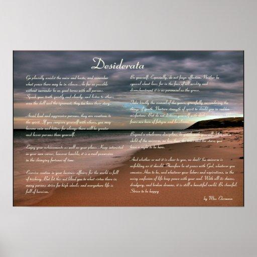 Desiderata  Inspirational Poem and Seashore Poster