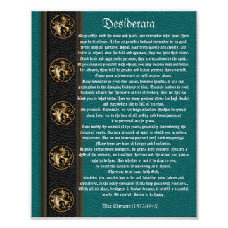 Desiderata leather look brass lions poster