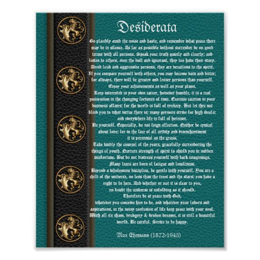 Desiderata leather look brass lions print