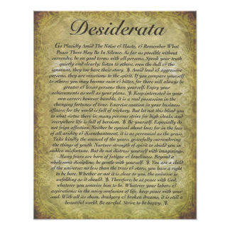DESIDERATA on Antique Paper Poster