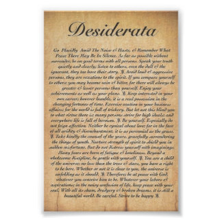 DESIDERATA on Embossed Wood Paper Poster