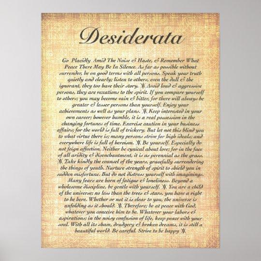 DESIDERATA on Fossilised Wood Paper Poster