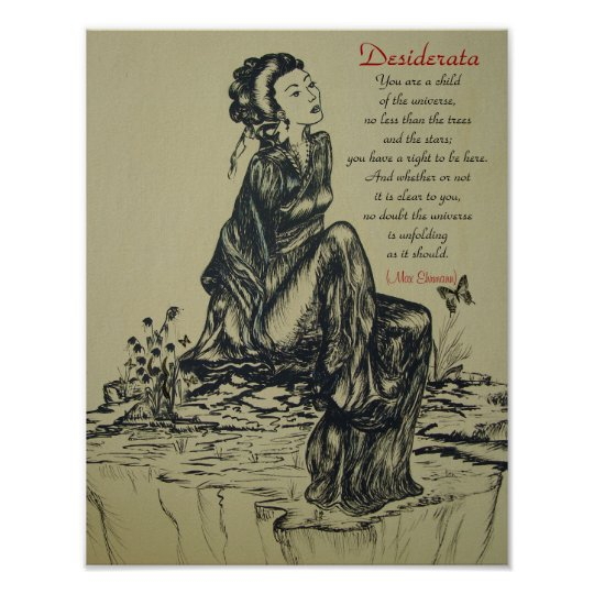 Desiderata on pen and ink drawing , Asian