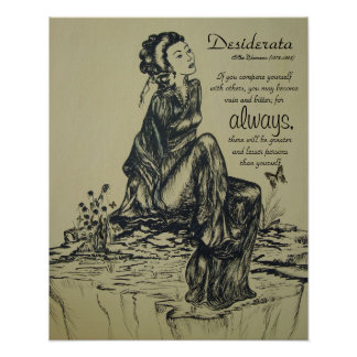 Desiderata on pen and ink drawing , Asian art Poster