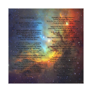 Desiderata on Pleiades Galaxy Canvas Print