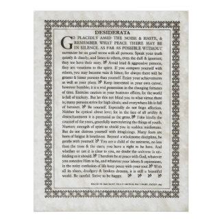 DESIDERATA Poem by Max Ehrmann Poster
