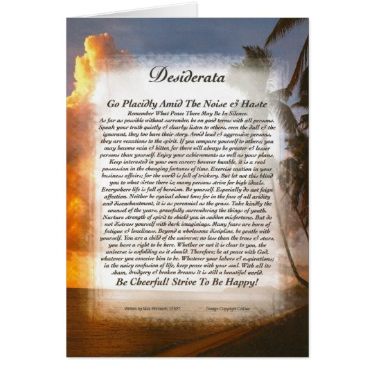 DESIDERATA Poem Card Max Ehrmann-Tropical Sunset