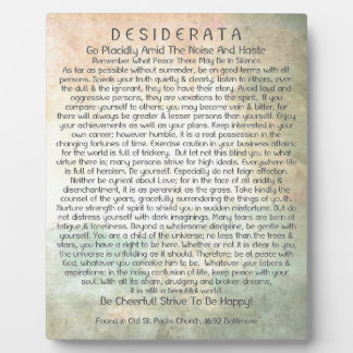 Desiderata Poem in Abstract Desert Forest Plaque