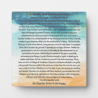 Desiderata Poem in Blue Thunder On The Beach Plaque