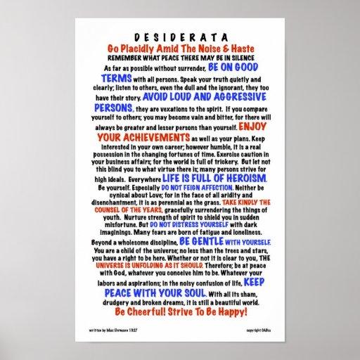 DESIDERATA Poem=Max Ehrmann=LIFE Version Posters