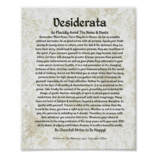 DESIDERATA Poem  Max Ehrmann-Mediaeval Calligraphy Poster