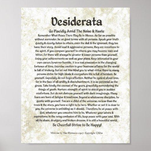 DESIDERATA Poem  Max Ehrmann-Medieval Calligraphy Poster