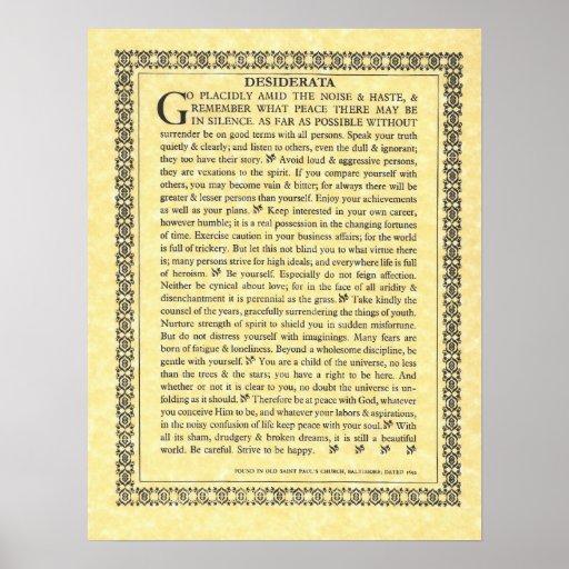 DESIDERATA Poem=Max Ehrmann=Parchment Collection Print