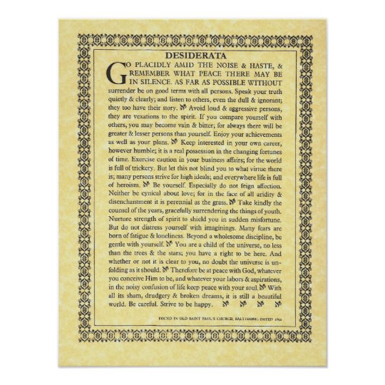 DESIDERATA Poem=Max Ehrmann=Parchment Collection Poster
