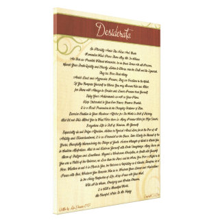 DESIDERATA Poem=Max Ehrmann=Woodgrain Canvas