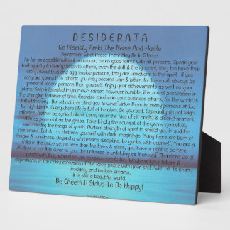 Desiderata Poem on Blue Sunset Plaque