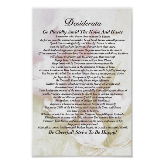 Desiderata Poem on Fading Tulips Watercolor Poster
