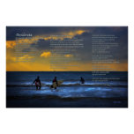 Desiderata Poem on Surfing at Sundown Posters
