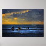 Desiderata Poem on Surfing at Sundown Posters