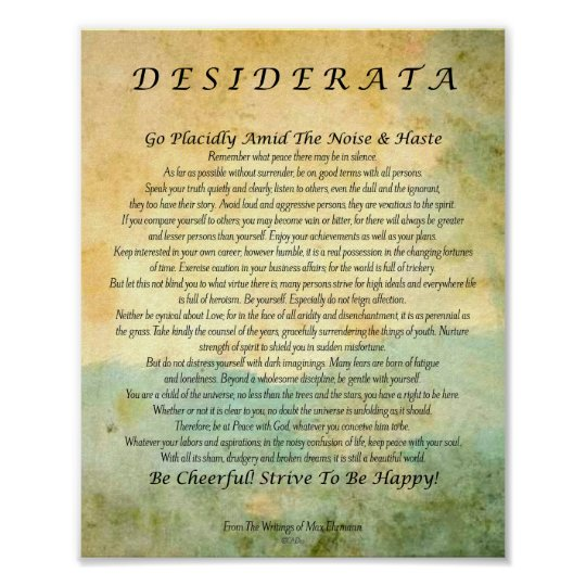 photograph about Printable Desiderata named Desiderata Poem upon Watercolor Forest Poster
